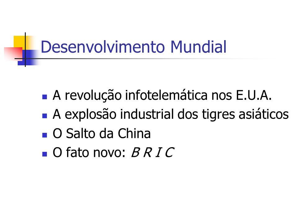 Desenvolvimento Mundial A revolução infotelemática nos E.U.A. A explosão industrial dos tigres asiáticos O Salto da China O fato novo: B R I C