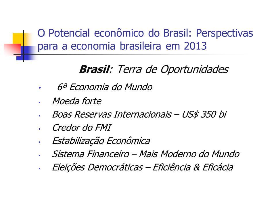 O Potencial econômico do Brasil: Perspectivas para a economia brasileira em 2013 Brasil: Terra de Oportunidades 6ª Economia do Mundo Moeda forte Boas