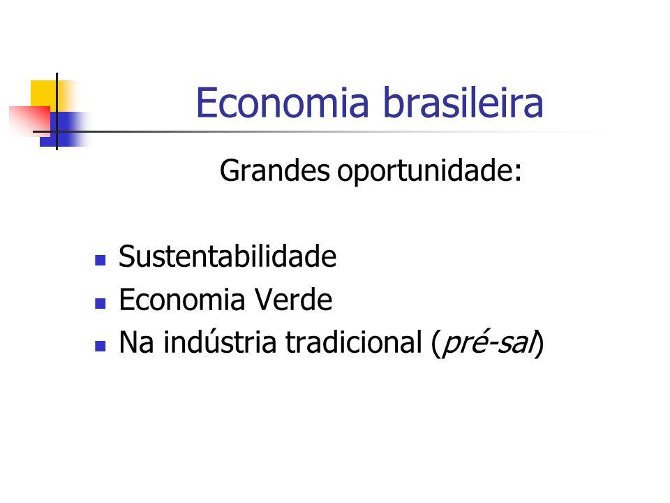 Economia brasileira Grandes oportunidade: Sustentabilidade Economia Verde Na indústria tradicional (pré-sal)