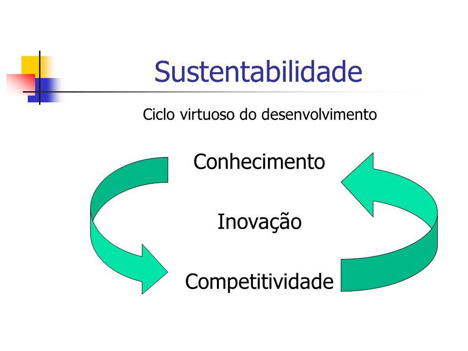 Sustentabilidade Conhecimento Inovação Competitividade Ciclo virtuoso do desenvolvimento