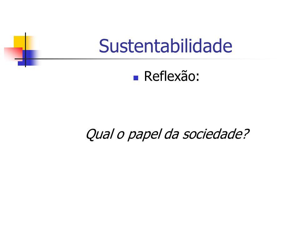 Sustentabilidade Reflexão: Qual o papel da sociedade?