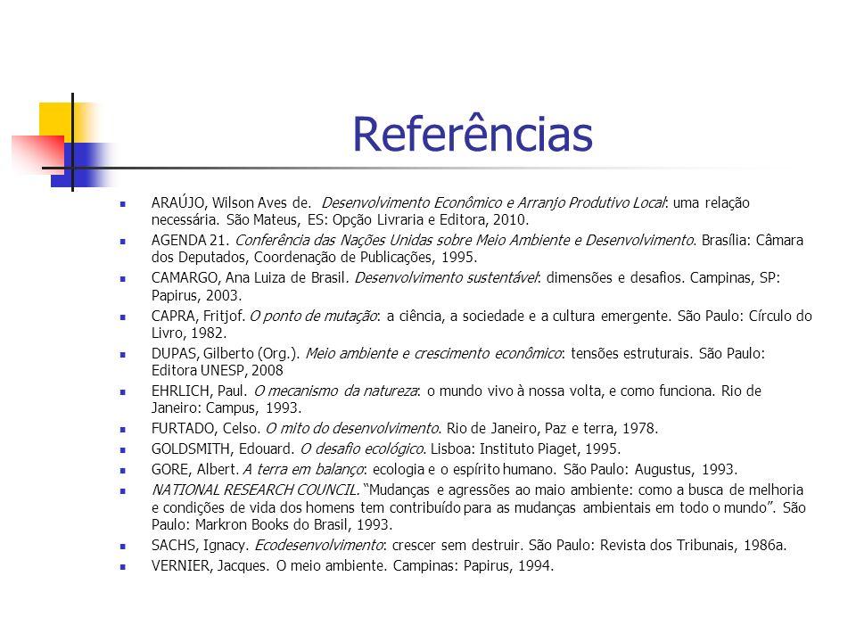 Referências ARAÚJO, Wilson Aves de. Desenvolvimento Econômico e Arranjo Produtivo Local: uma relação necessária. São Mateus, ES: Opção Livraria e Edit