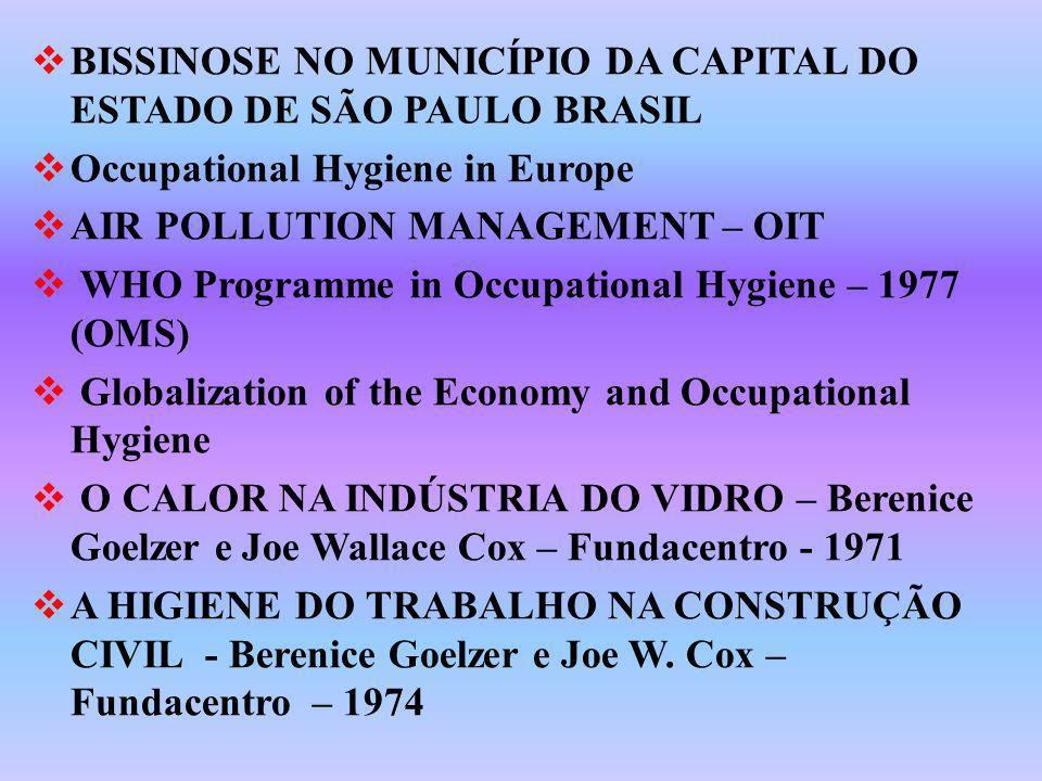 BISSINOSE NO MUNICÍPIO DA CAPITAL DO ESTADO DE SÃO PAULO BRASIL Occupational Hygiene in Europe AIR POLLUTION MANAGEMENT – OIT WHO Programme in Occupat