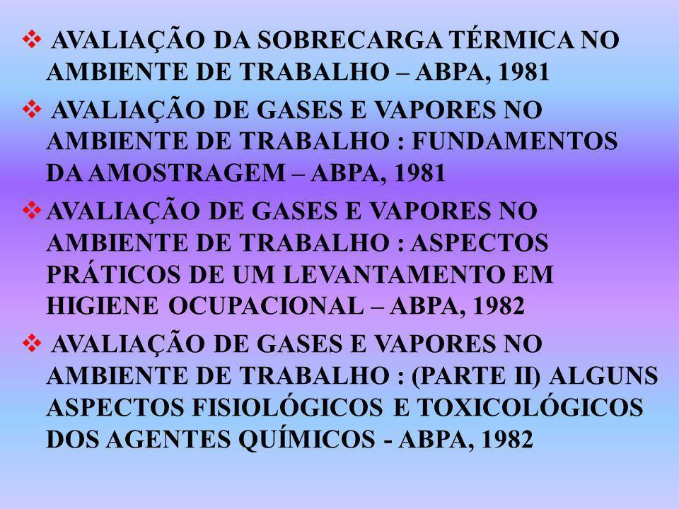 AVALIAÇÃO DA SOBRECARGA TÉRMICA NO AMBIENTE DE TRABALHO – ABPA, 1981 AVALIAÇÃO DE GASES E VAPORES NO AMBIENTE DE TRABALHO : FUNDAMENTOS DA AMOSTRAGEM