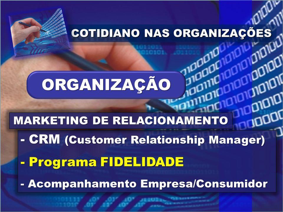 COTIDIANO NAS ORGANIZAÇÕES - CRM (Customer Relationship Manager) - Programa FIDELIDADE - Acompanhamento Empresa/Consumidor MARKETING DE RELACIONAMENTO