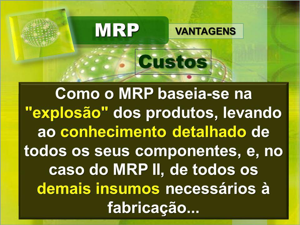 VANTAGENS MRPMRP...fica fácil o cálculo detalhado voltado justamente para o custeio dos produtos. Como o MRP baseia-se na