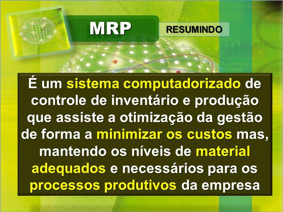 MRPMRP É um sistema computadorizado de controle de inventário e produção que assiste a otimização da gestão de forma a minimizar os custos mas, manten