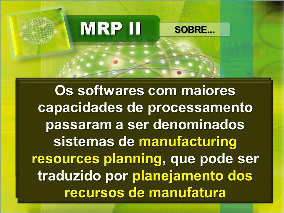 MRP II Hoje em dia é cada vez maior o número de autores que chamam o MRP II de ERP, sigla de Enterprise Resource Planning, ou seja, planejamento dos r