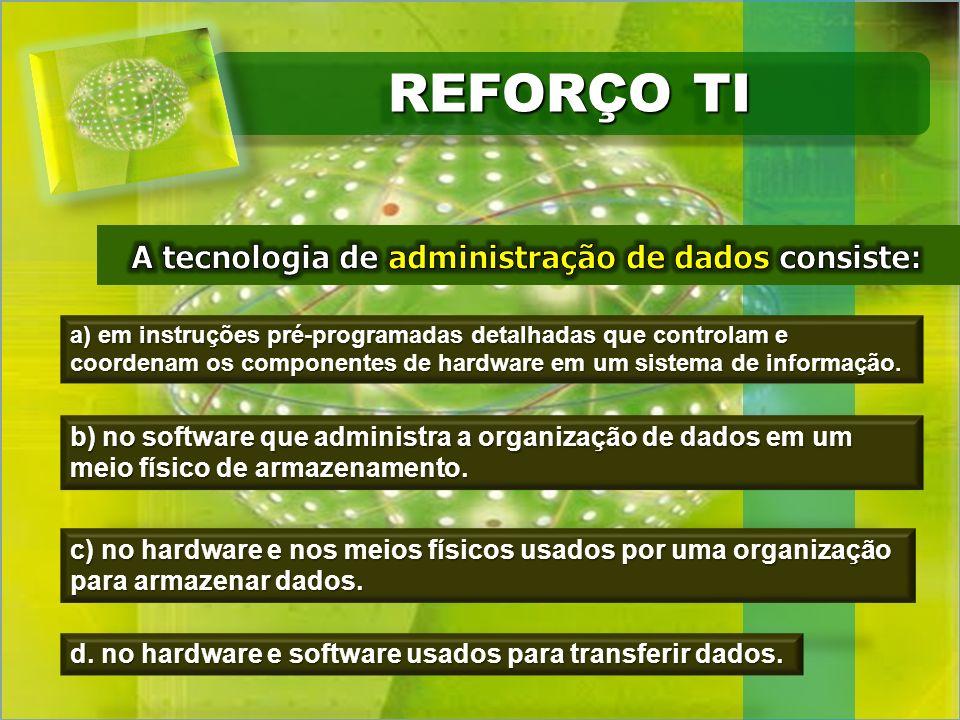 REFORÇO TI a) em instruções pré-programadas detalhadas que controlam e coordenam os componentes de hardware em um sistema de informação. b) no softwar