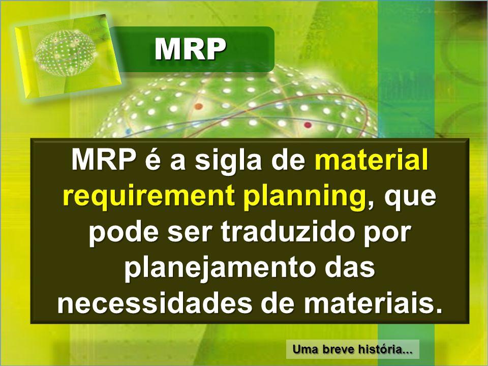MRPMRP MRP é a sigla de material requirement planning, que pode ser traduzido por planejamento das necessidades de materiais. Uma breve história...