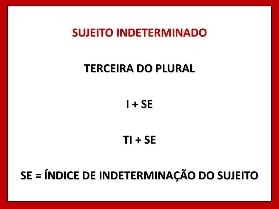 SUJEITO INDETERMINADO TERCEIRA DO PLURAL I + SE TI + SE SE = ÍNDICE DE INDETERMINAÇÃO DO SUJEITO