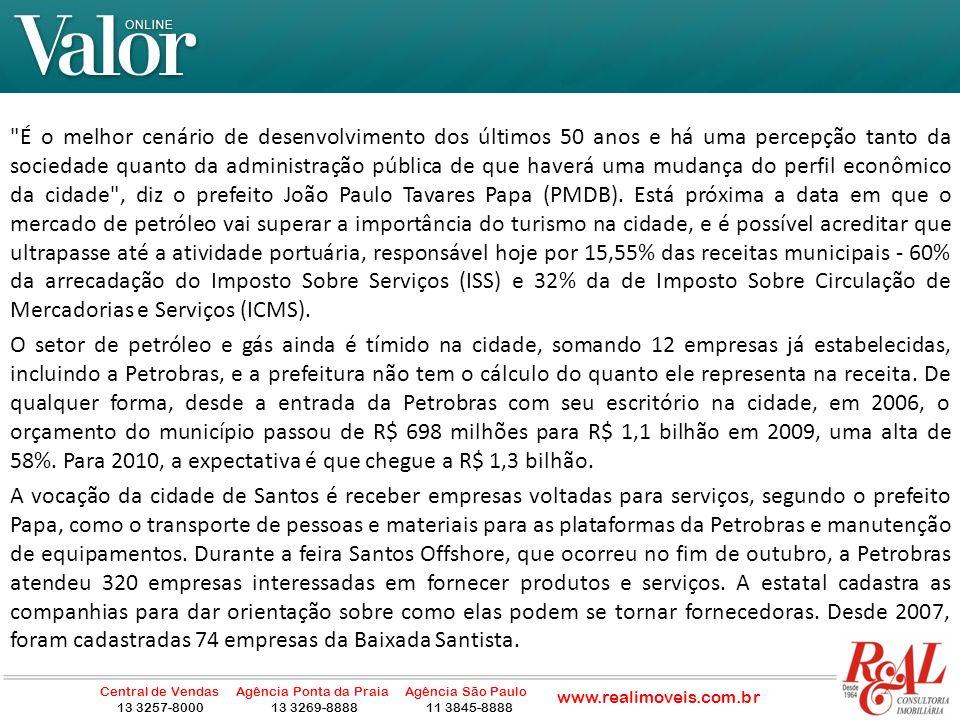 Não há espaço para a instalação de novas empresas na parte insular da cidade, onde 39 quilômetros quadrados (km2) já estão totalmente ocupados por 99% da população santista.