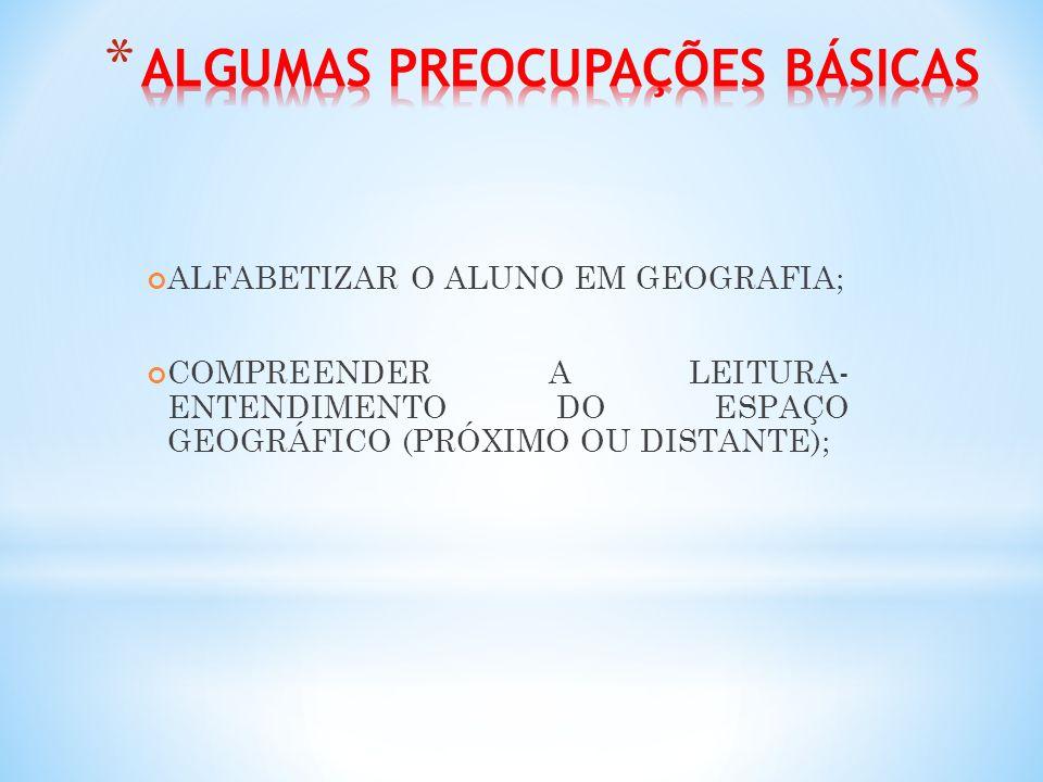 ALFABETIZAR O ALUNO EM GEOGRAFIA; COMPREENDER A LEITURA- ENTENDIMENTO DO ESPAÇO GEOGRÁFICO (PRÓXIMO OU DISTANTE);