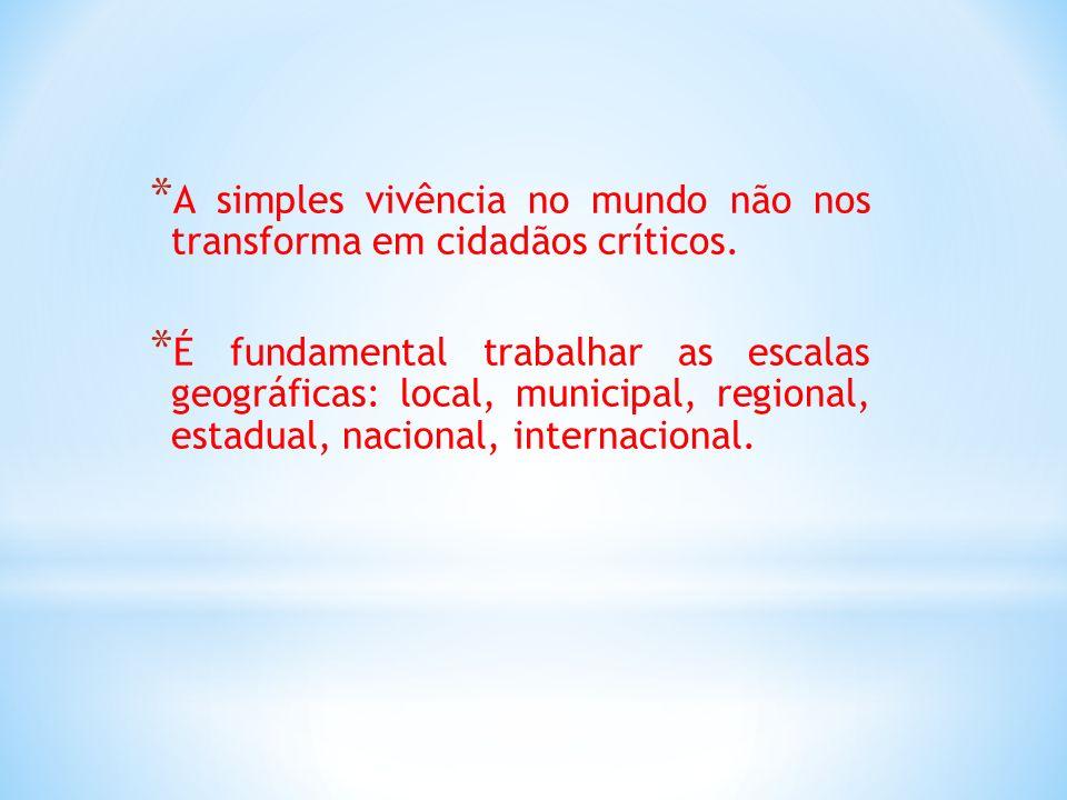 * A simples vivência no mundo não nos transforma em cidadãos críticos. * É fundamental trabalhar as escalas geográficas: local, municipal, regional, e