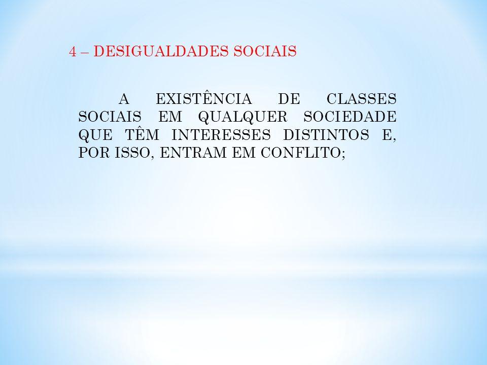 4 – DESIGUALDADES SOCIAIS A EXISTÊNCIA DE CLASSES SOCIAIS EM QUALQUER SOCIEDADE QUE TÊM INTERESSES DISTINTOS E, POR ISSO, ENTRAM EM CONFLITO;