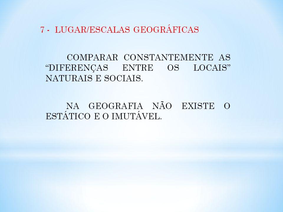7 - LUGAR/ESCALAS GEOGRÁFICAS COMPARAR CONSTANTEMENTE AS DIFERENÇAS ENTRE OS LOCAIS NATURAIS E SOCIAIS. NA GEOGRAFIA NÃO EXISTE O ESTÁTICO E O IMUTÁVE