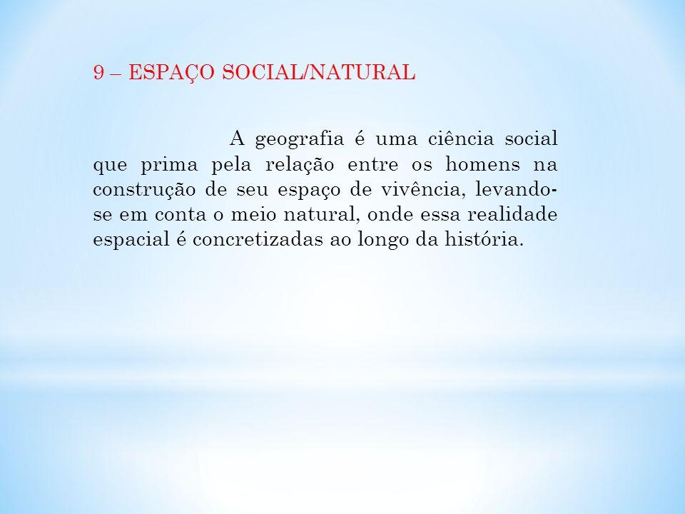 9 – ESPAÇO SOCIAL/NATURAL A geografia é uma ciência social que prima pela relação entre os homens na construção de seu espaço de vivência, levando- se