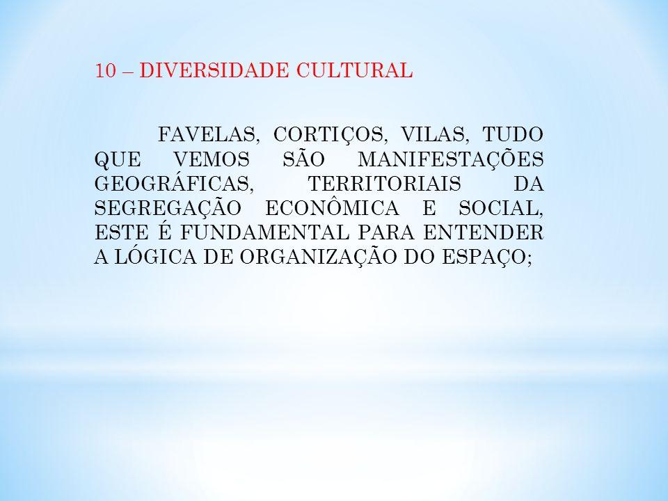 10 – DIVERSIDADE CULTURAL FAVELAS, CORTIÇOS, VILAS, TUDO QUE VEMOS SÃO MANIFESTAÇÕES GEOGRÁFICAS, TERRITORIAIS DA SEGREGAÇÃO ECONÔMICA E SOCIAL, ESTE