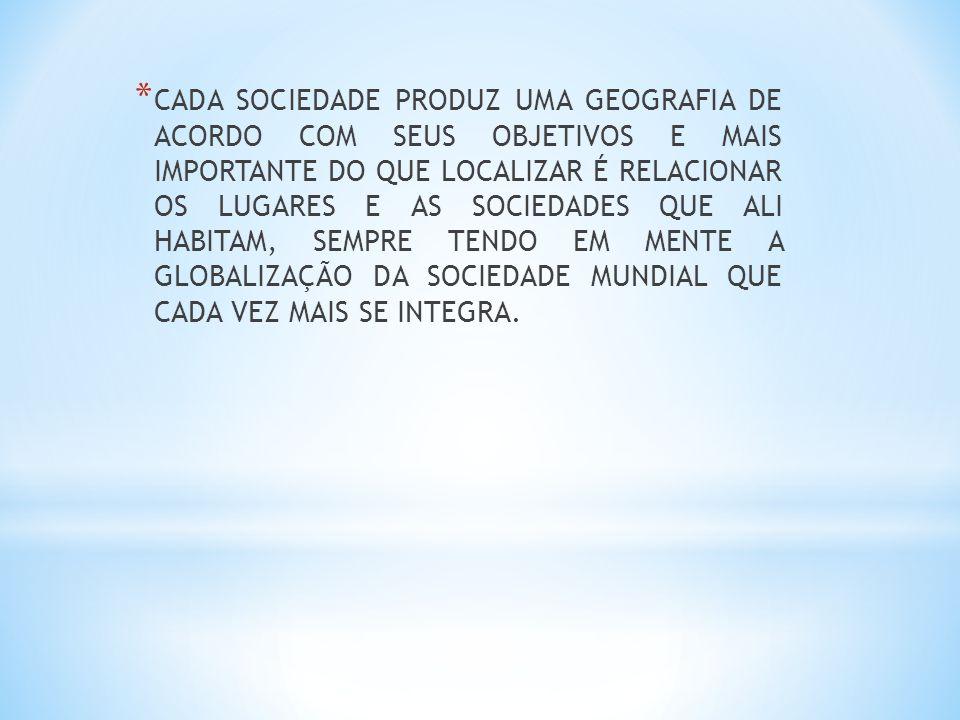 * CADA SOCIEDADE PRODUZ UMA GEOGRAFIA DE ACORDO COM SEUS OBJETIVOS E MAIS IMPORTANTE DO QUE LOCALIZAR É RELACIONAR OS LUGARES E AS SOCIEDADES QUE ALI