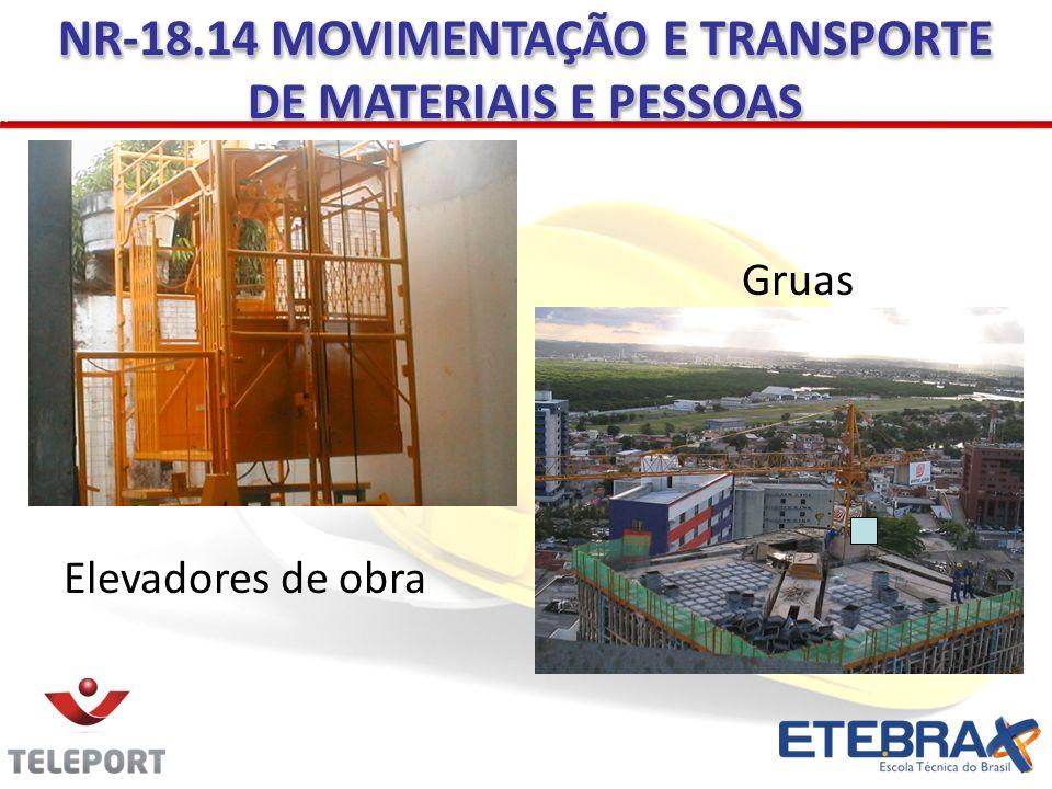 Elevadores de obra NR-18.14 MOVIMENTAÇÃO E TRANSPORTE DE MATERIAIS E PESSOAS Gruas