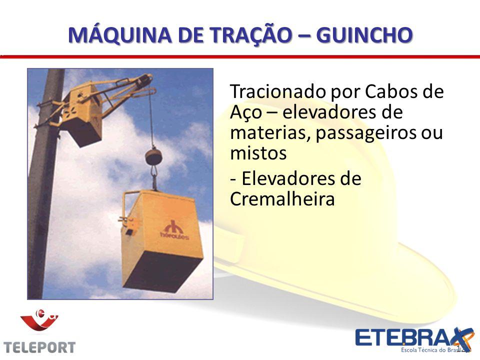 12 MÁQUINA DE TRAÇÃO – GUINCHO Guincho tipo coluna Tracionado por Cabos de Aço – elevadores de materias, passageiros ou mistos - Elevadores de Cremalh