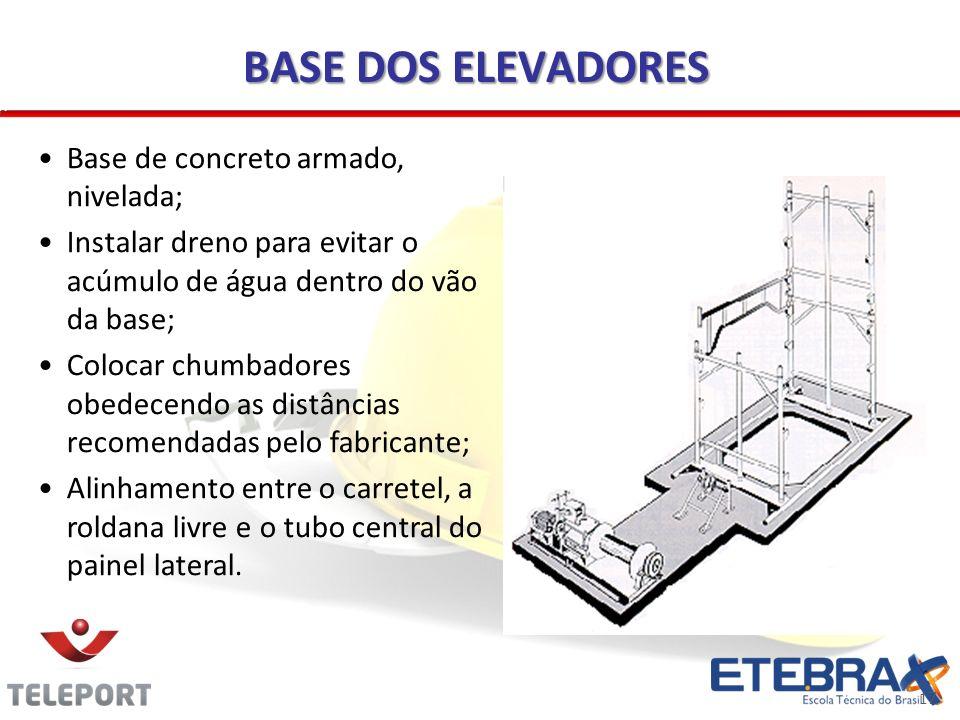 17 BASE DOS ELEVADORES Base de concreto armado, nivelada; Instalar dreno para evitar o acúmulo de água dentro do vão da base; Colocar chumbadores obed