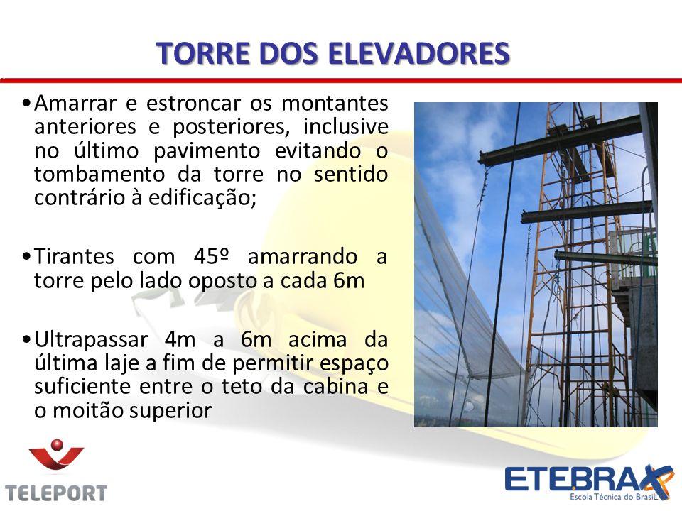18 TORRE DOS ELEVADORES Amarrar e estroncar os montantes anteriores e posteriores, inclusive no último pavimento evitando o tombamento da torre no sen