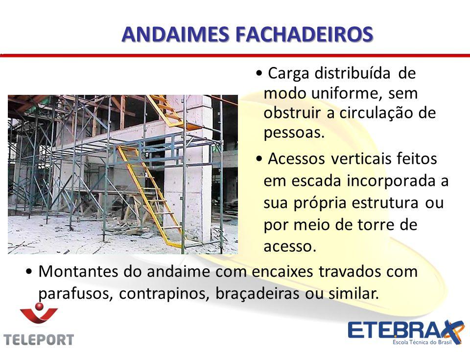 ANDAIMES FACHADEIROS Carga distribuída de modo uniforme, sem obstruir a circulação de pessoas. Acessos verticais feitos em escada incorporada a sua pr