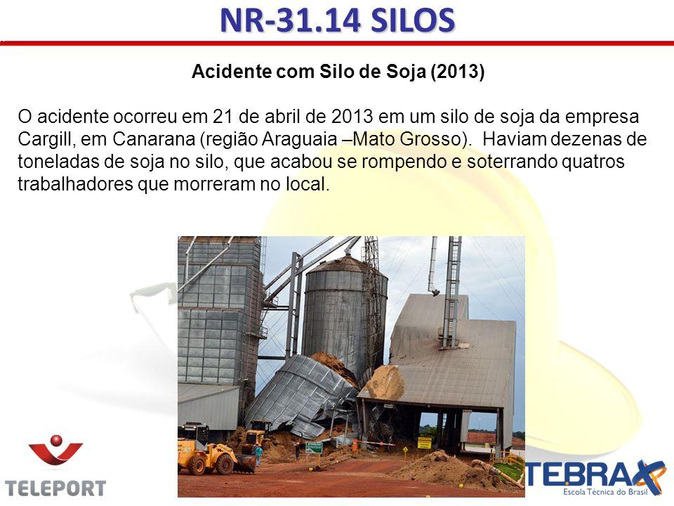 NR-31.14 SILOS Acidente com Silo de Soja (2013) O acidente ocorreu em 21 de abril de 2013 em um silo de soja da empresa Cargill, em Canarana (região A