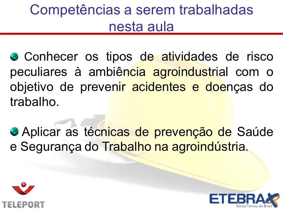 Competências a serem trabalhadas nesta aula Co nhecer os tipos de atividades de risco peculiares à ambiência agroindustrial com o objetivo de prevenir