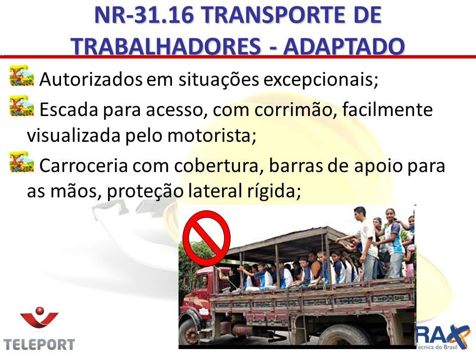 NR-31.16 TRANSPORTE DE TRABALHADORES - ADAPTADO Autorizados em situações excepcionais; Escada para acesso, com corrimão, facilmente visualizada pelo m