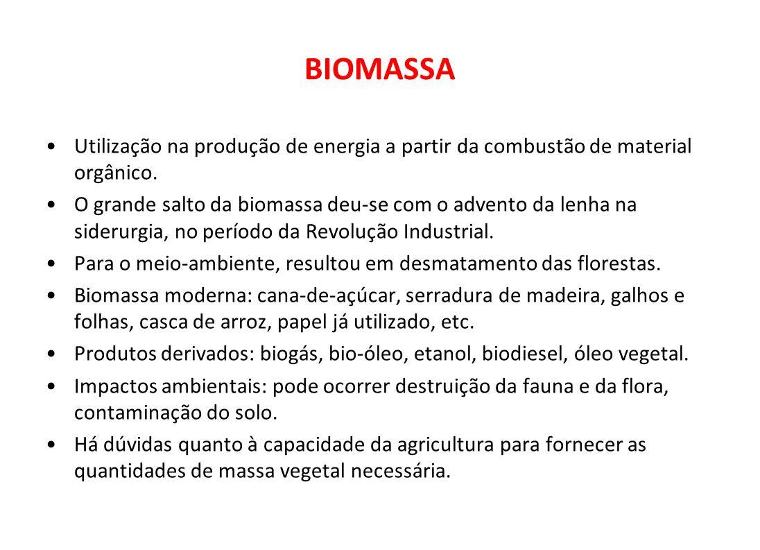 Utilização na produção de energia a partir da combustão de material orgânico. O grande salto da biomassa deu-se com o advento da lenha na siderurgia,