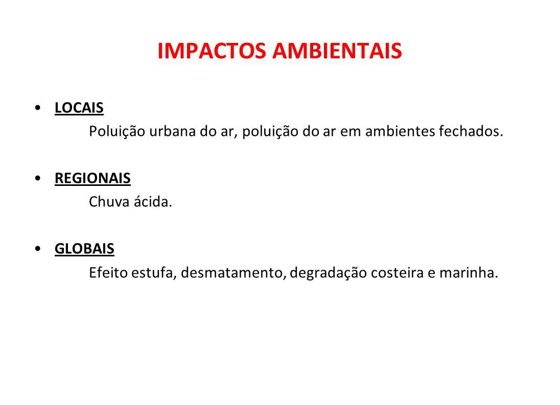 IMPACTOS AMBIENTAIS LOCAIS Poluição urbana do ar, poluição do ar em ambientes fechados. REGIONAIS Chuva ácida. GLOBAIS Efeito estufa, desmatamento, de