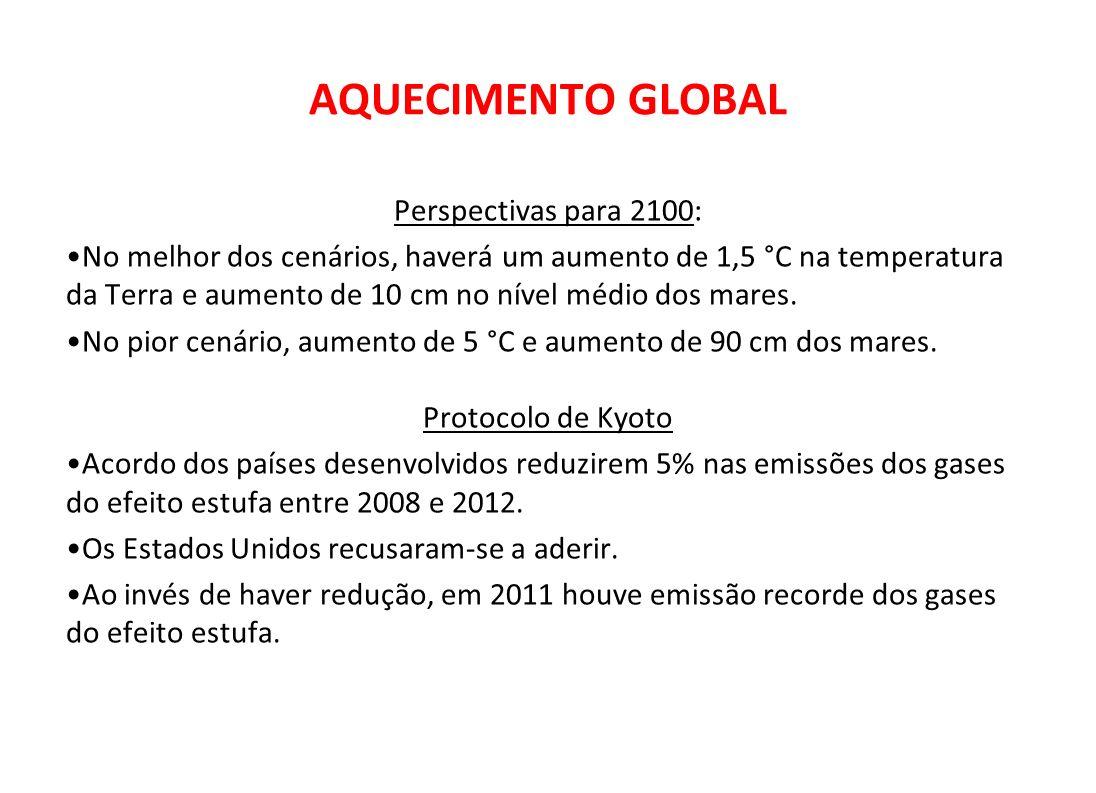 AQUECIMENTO GLOBAL Perspectivas para 2100: No melhor dos cenários, haverá um aumento de 1,5 °C na temperatura da Terra e aumento de 10 cm no nível méd