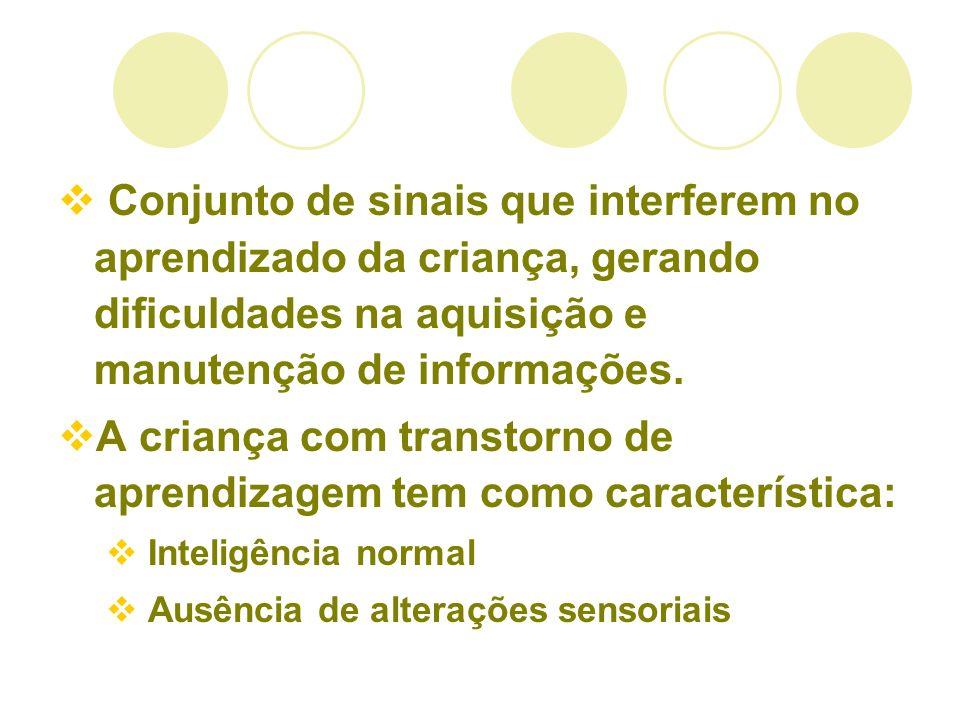 Conjunto de sinais que interferem no aprendizado da criança, gerando dificuldades na aquisição e manutenção de informações. A criança com transtorno d