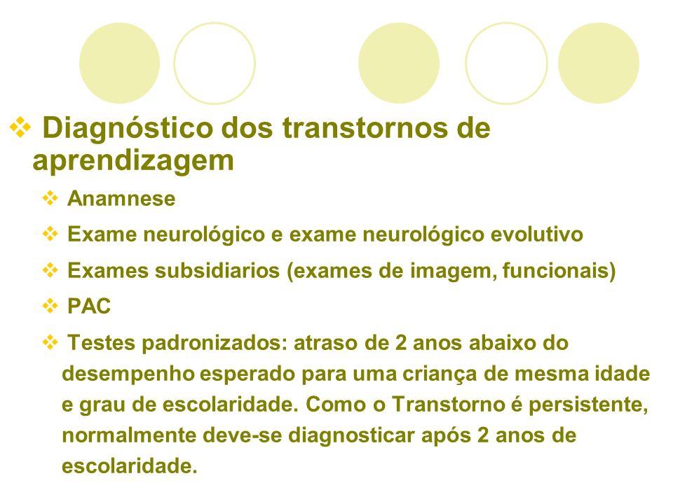 Diagnóstico dos transtornos de aprendizagem Anamnese Exame neurológico e exame neurológico evolutivo Exames subsidiarios (exames de imagem, funcionais
