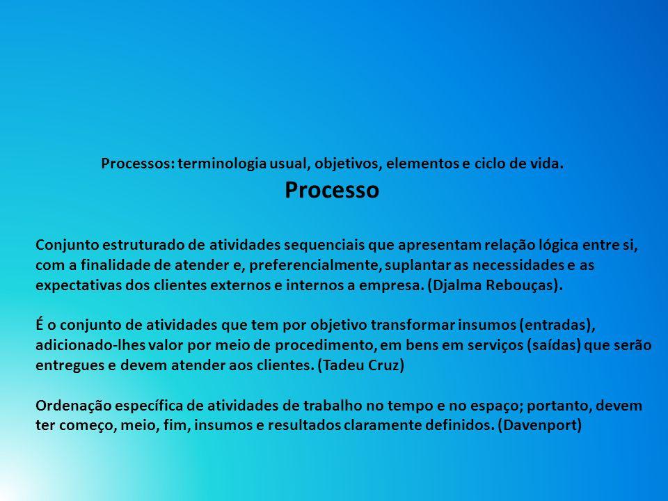 Processos: terminologia usual, objetivos, elementos e ciclo de vida.
