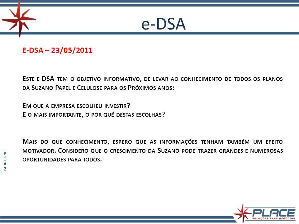 e-DSA USO INTERNO E-DSA – 23/05/2011 E STE E -DSA TEM O OBJETIVO INFORMATIVO, DE LEVAR AO CONHECIMENTO DE TODOS OS PLANOS DA S UZANO P APEL E C ELULOSE PARA OS P RÓXIMOS ANOS : E M QUE A EMPRESA ESCOLHEU INVESTIR .