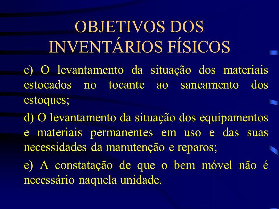 OBJETIVOS DOS INVENTÁRIOS FÍSICOS c) O levantamento da situação dos materiais estocados no tocante ao saneamento dos estoques; d) O levantamento da si