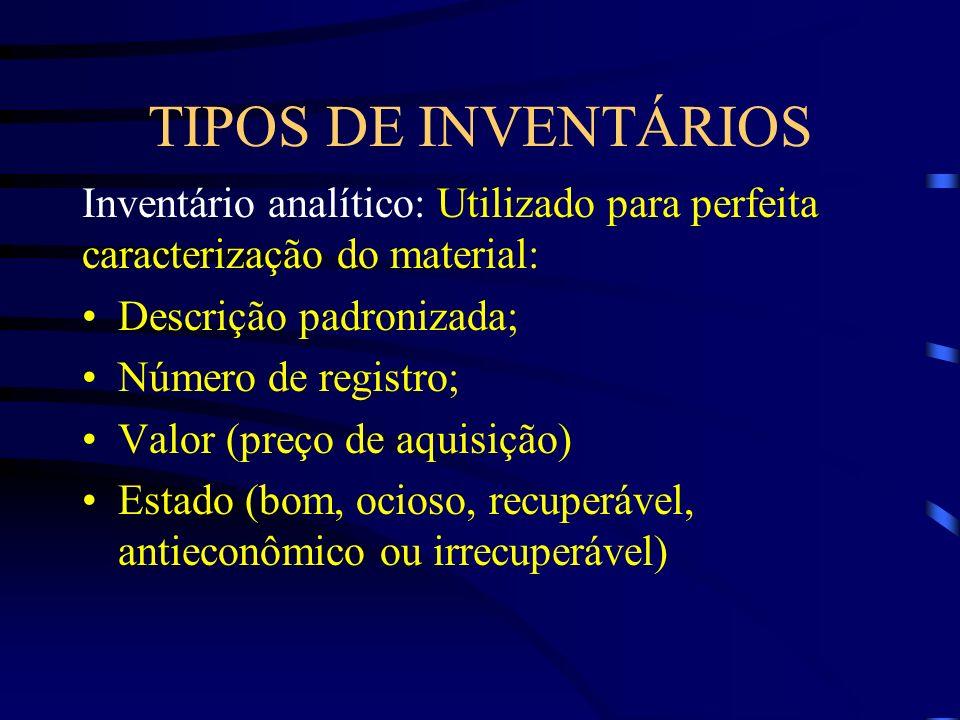 TIPOS DE INVENTÁRIOS Inventário analítico: Utilizado para perfeita caracterização do material: Descrição padronizada; Número de registro; Valor (preço