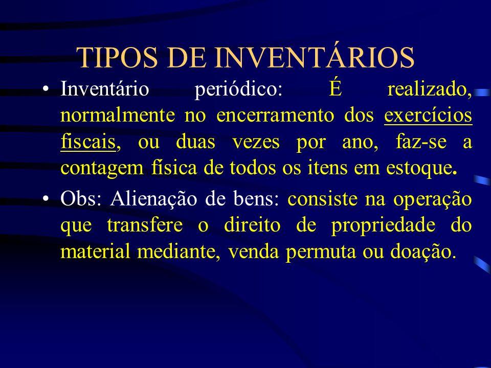 TIPOS DE INVENTÁRIOS Inventário periódico: É realizado, normalmente no encerramento dos exercícios fiscais, ou duas vezes por ano, faz-se a contagem f