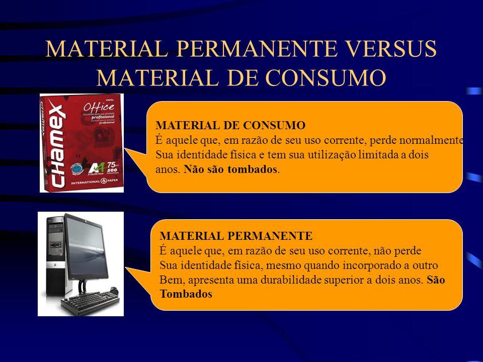 MATERIAL PERMANENTE VERSUS MATERIAL DE CONSUMO MATERIAL DE CONSUMO É aquele que, em razão de seu uso corrente, perde normalmente Sua identidade física