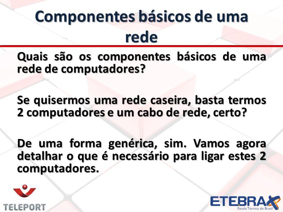 Componentes básicos de uma rede Precisamos ter um mínimo de itens para ligar 2 computadores, que são: Os 2 computadores que serão interligados; 1 cabo de rede, de par trançado, CAT5e; 2 conectores 8P8C (comumente chamados de RJ45); Um protocolo de comunicação;