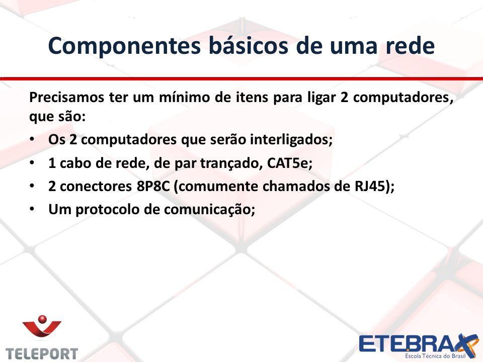 As camadas são: 7- Aplicação (aqui está o programa) 6- Apresentação (aqui acontece a tradução) 5- Sessão (comunicação entre aplicativos e marca pacotes) 4- Transporte (TCP - pega os dados da sessão e quebra em pacotes) 3- Camada de Rede (endereça pacotes, convertendo IPs em MACs) 2- Link de enlace/dados (placas de rede, switches, correção de erros) 1- Camada Física (cabos, hubs, tensões, etc)