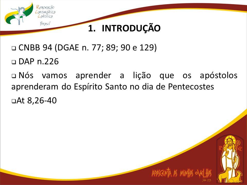 1.INTRODUÇÃO CNBB 94 (DGAE n. 77; 89; 90 e 129) DAP n.226 Nós vamos aprender a lição que os apóstolos aprenderam do Espírito Santo no dia de Pentecost