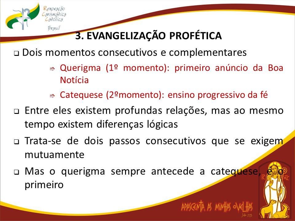 3. EVANGELIZAÇÃO PROFÉTICA Dois momentos consecutivos e complementares Querigma (1º momento): primeiro anúncio da Boa Notícia Catequese (2ºmomento): e