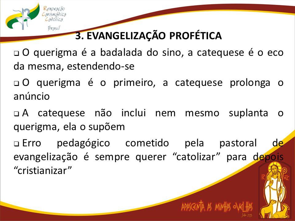 3. EVANGELIZAÇÃO PROFÉTICA O querigma é a badalada do sino, a catequese é o eco da mesma, estendendo-se O querigma é o primeiro, a catequese prolonga
