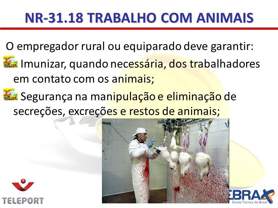NR-31.18 TRABALHO COM ANIMAIS O empregador rural ou equiparado deve garantir: Imunizar, quando necessária, dos trabalhadores em contato com os animais; Segurança na manipulação e eliminação de secreções, excreções e restos de animais;