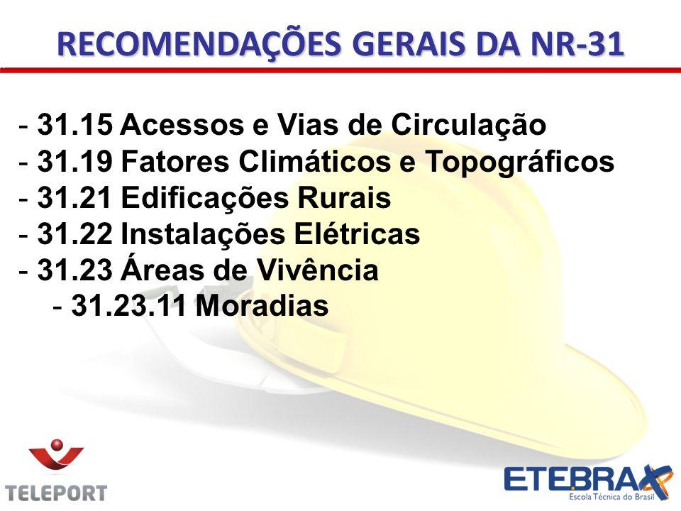 RECOMENDAÇÕES GERAIS DA NR-31 - 31.15 Acessos e Vias de Circulação - 31.19 Fatores Climáticos e Topográficos - 31.21 Edificações Rurais - 31.22 Instal