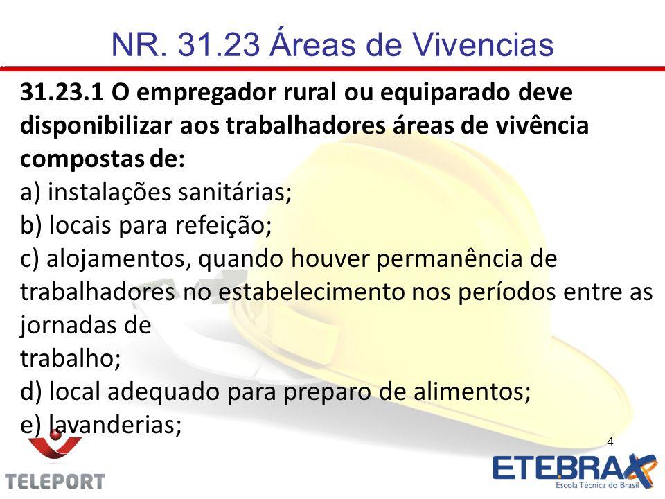 4 31.23.1 O empregador rural ou equiparado deve disponibilizar aos trabalhadores áreas de vivência compostas de: a) instalações sanitárias; b) locais